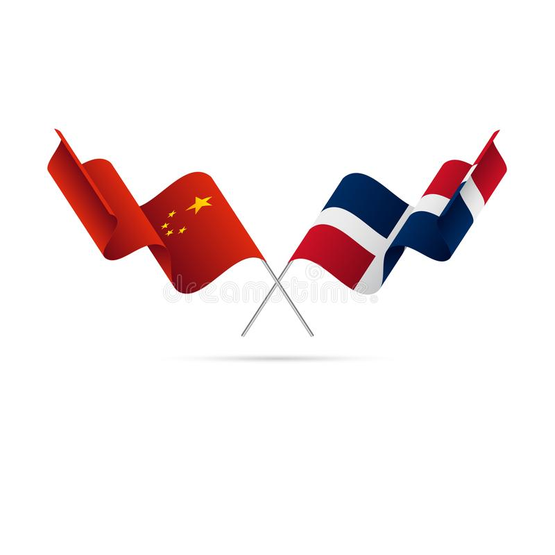 China and Dominican Republic flags. Vector illustration. stock illustration
