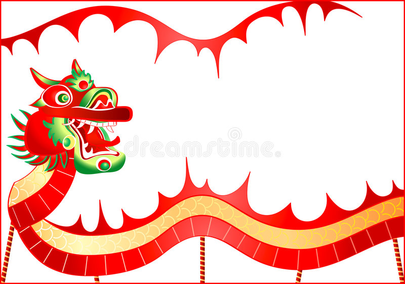 China dragon. Dancing chinese dragon advertisement for restaurants, chinese New Year carnivals and other events