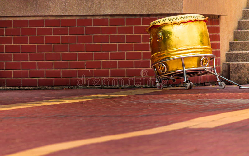 China Drum. Traditional gold Chinese Drum on sunny day royalty free stock photo