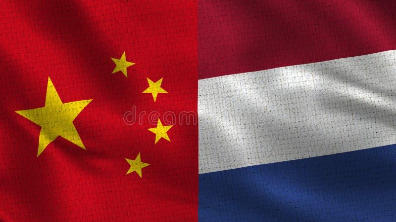 China e Países Baixos - duas meias bandeiras junto ilustração do vetor