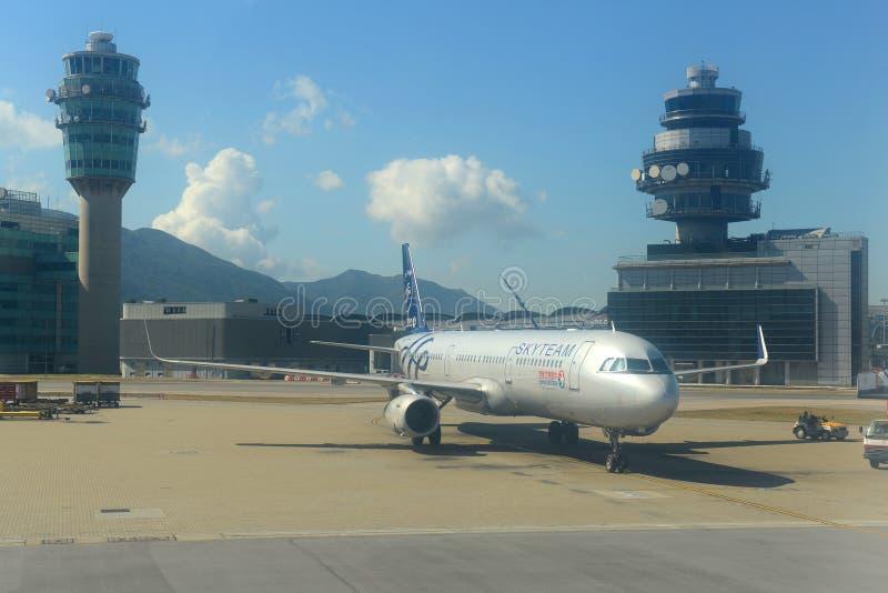 China Eastern Airlines Airbus 321 em Hong Kong Airport fotografia de stock