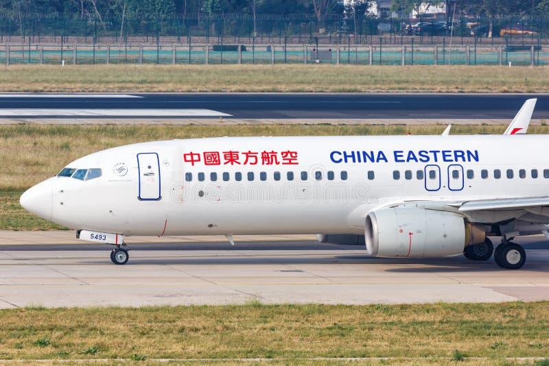 China Eastern Airlines Boeing 737-800 do aeroporto de Pequim imagem de stock