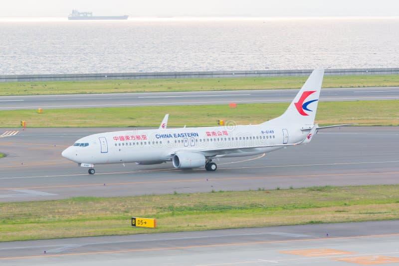 China Eastern Airlines i Chubu Centrair internationell flygplats J arkivbilder