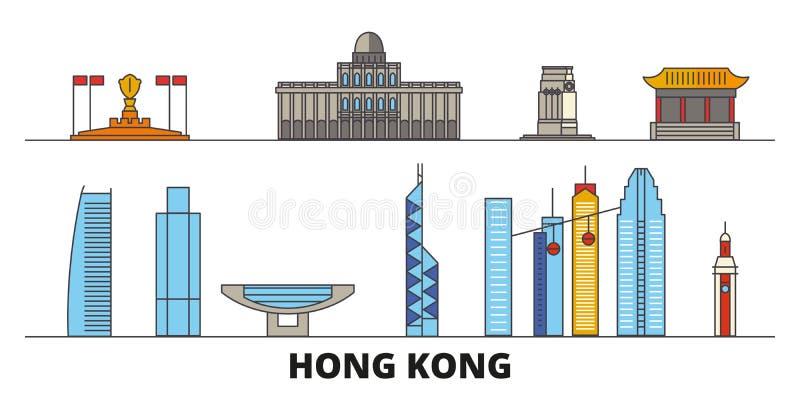China, ejemplo plano del vector de las señales de Hong Kong City China, línea ciudad de Hong Kong City con vistas famosas del via stock de ilustración