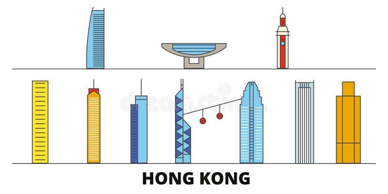 China, ejemplo plano del vector de las señales de Hong Kong China, línea ciudad con vistas famosas del viaje, horizonte de Hong K stock de ilustración