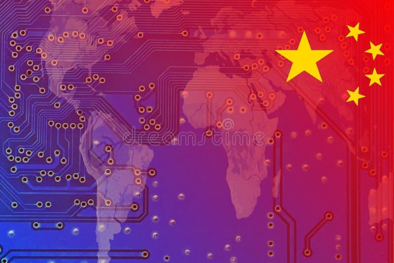 China em uma economia global digitada ilustração do vetor