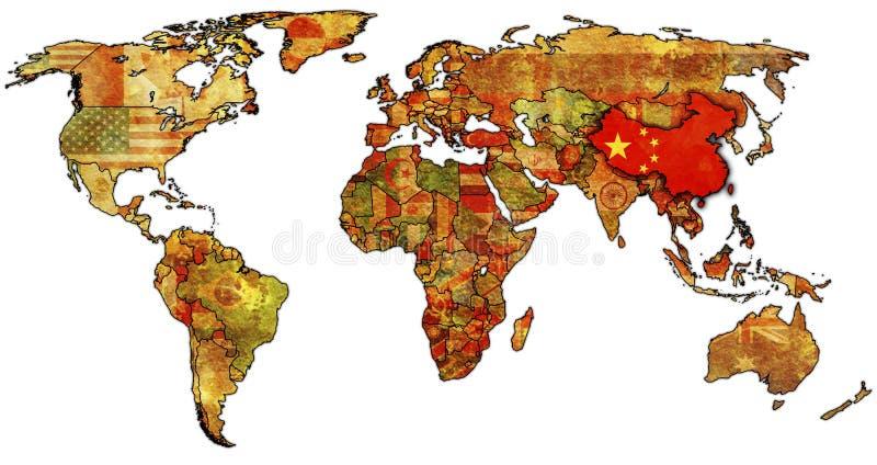 China en la correspondencia del mundo ilustración del vector