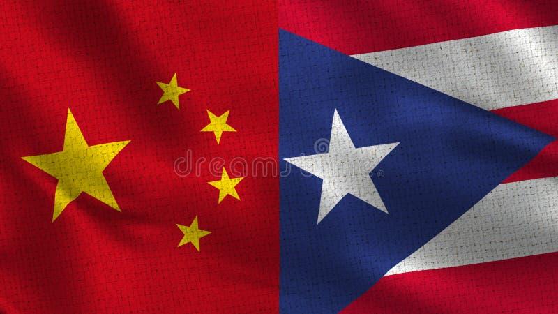 China en Puerto Rico - Twee Halve Vlaggen samen stock fotografie