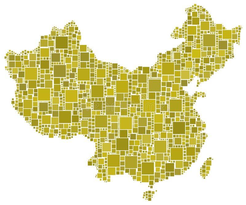 China en un mosaico amarillo stock de ilustración