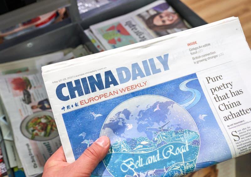 China Daily Eropean veckotidning royaltyfri fotografi