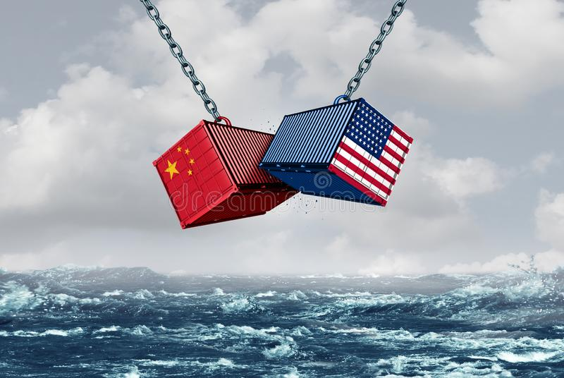 China EUA luta ilustração royalty free