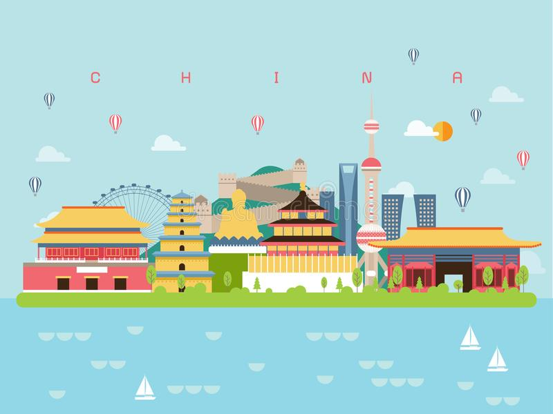 China Famous Landmarks Infographic Templates for Traveling Minimal Style and Icon, Symbol Set Vector. vector illustration