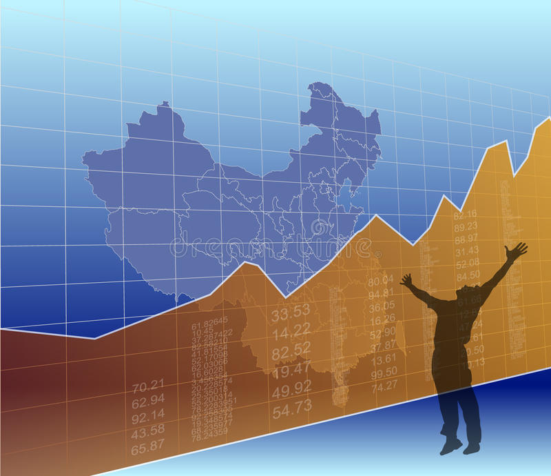 China Finance and market, ascending, success. This is an illustration to show the ascending economy in China royalty free illustration