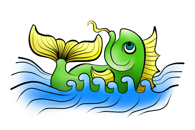 China fish in the sea stock illustration