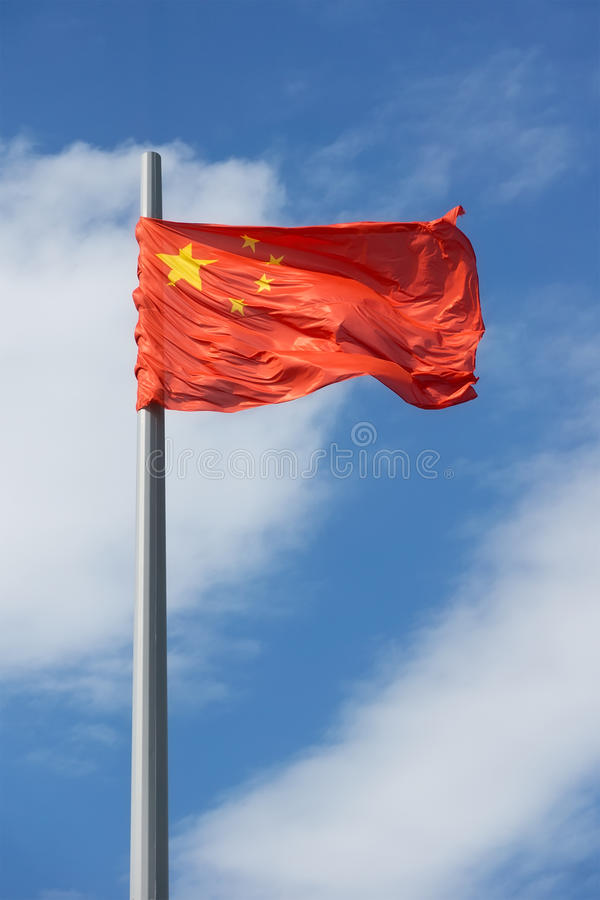 China flag. On the blue sky stock images