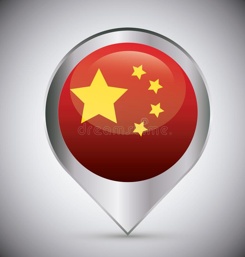China flag design. Location pin with china flag over gray background, colorful design. vector illustration stock illustration