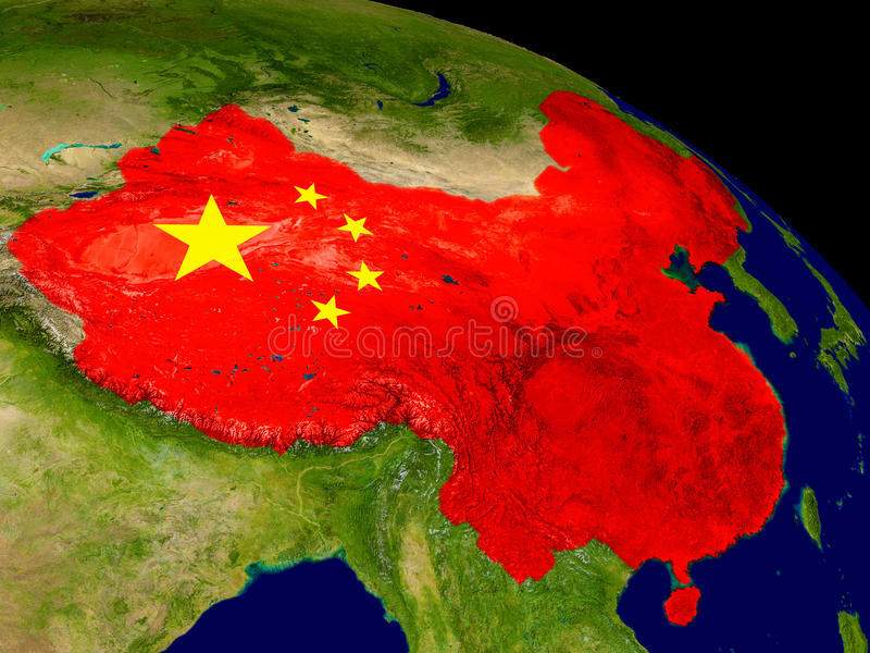 China with flag on Earth. Map of China with embedded flag on planet surface. 3D illustration. Elements of this image furnished by NASA stock illustration
