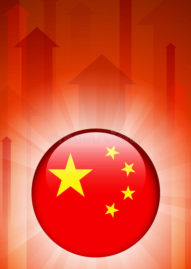 China Flag Icon on Internet Button vector illustration