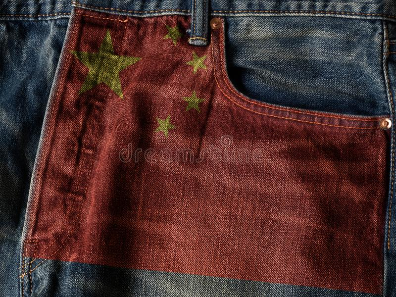 China flag On Jeans Denim Texture with pride word. The concept o royalty free stock image