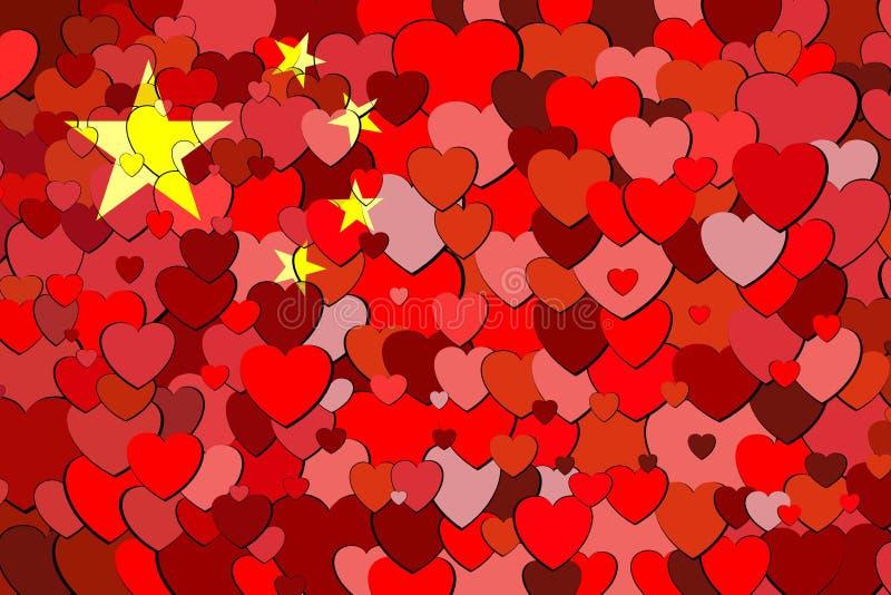 China flag made of hearts background royalty free illustration