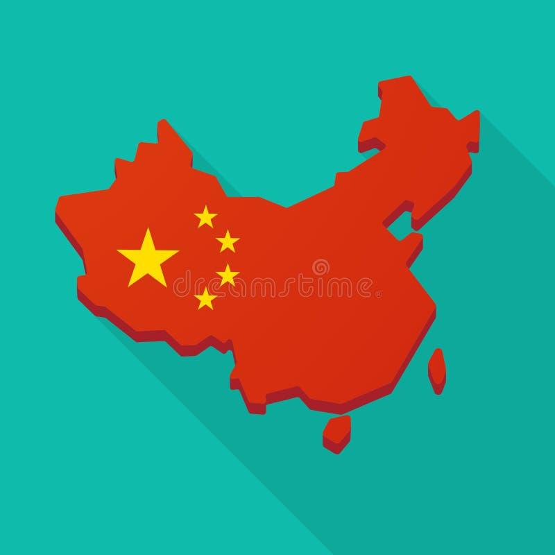 China flag map long shadow icon stock illustration