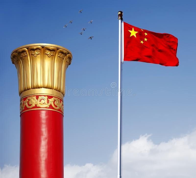 Download China Flag With National Column Stock Image - Image of square, wind: 11035475