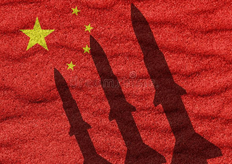 China rocket. China flag and rocket in military conflict royalty free stock photography