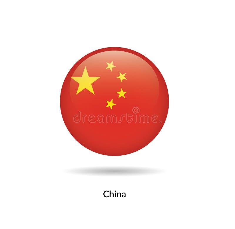 China flag - round glossy vector illustration