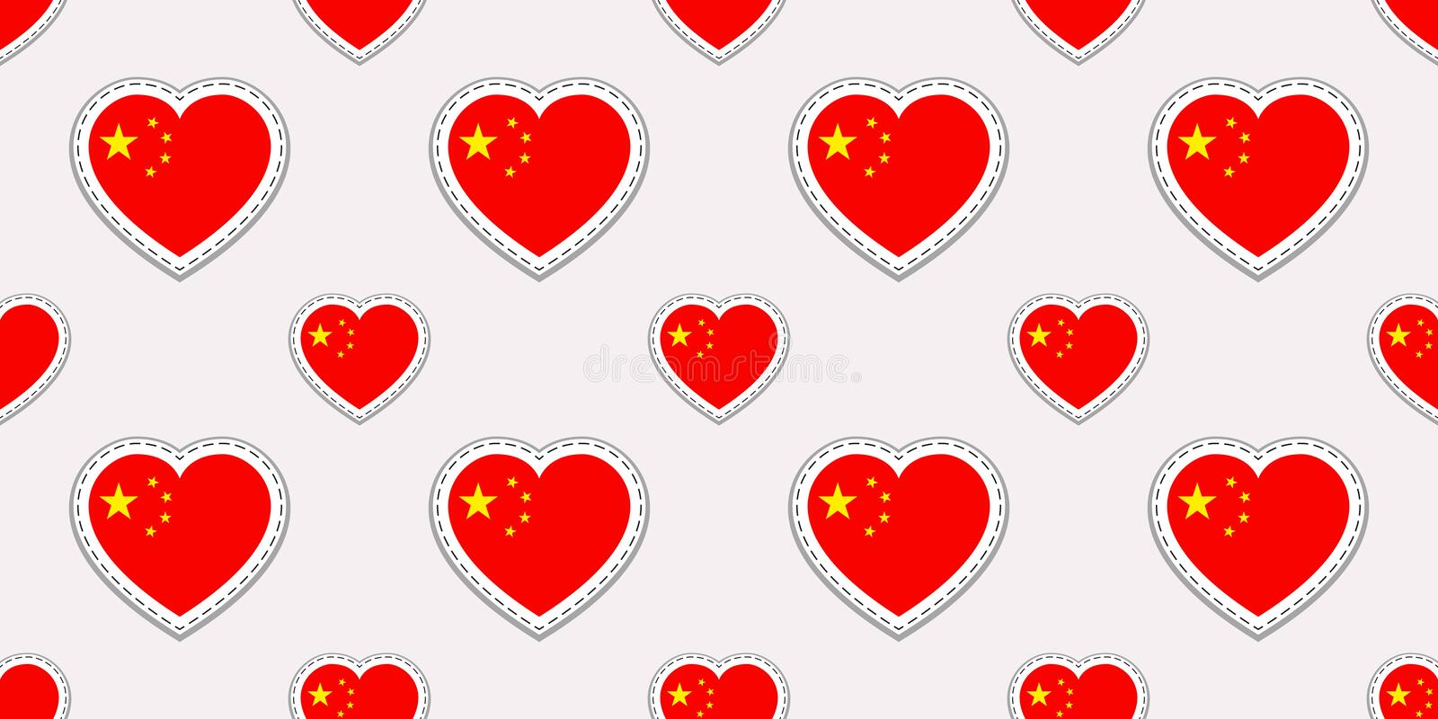 China flag seamless pattern. Vector chinese flags stickers. Love hearts symbols. Texture for language courses, sports pages, trave stock illustration
