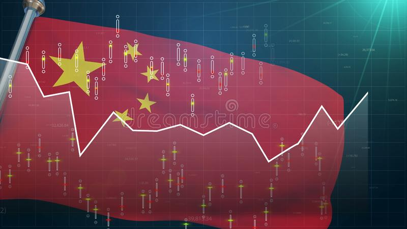 China flag on stock market background, trade finances Shanghai exchange currency. Stock photo royalty free illustration