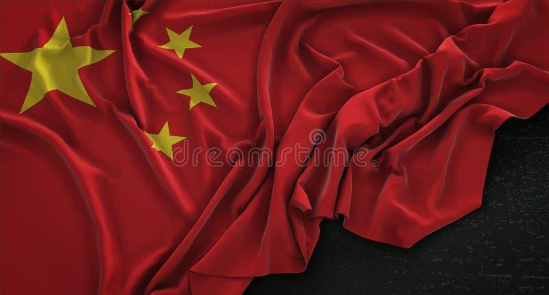 China Flag Wrinkled On Dark Background 3D Render. Digital Art royalty free illustration