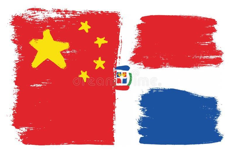 China-Flaggen-u. Dominikanische Republik-Vektor handgemalt mit gerundeter Bürste vektor abbildung