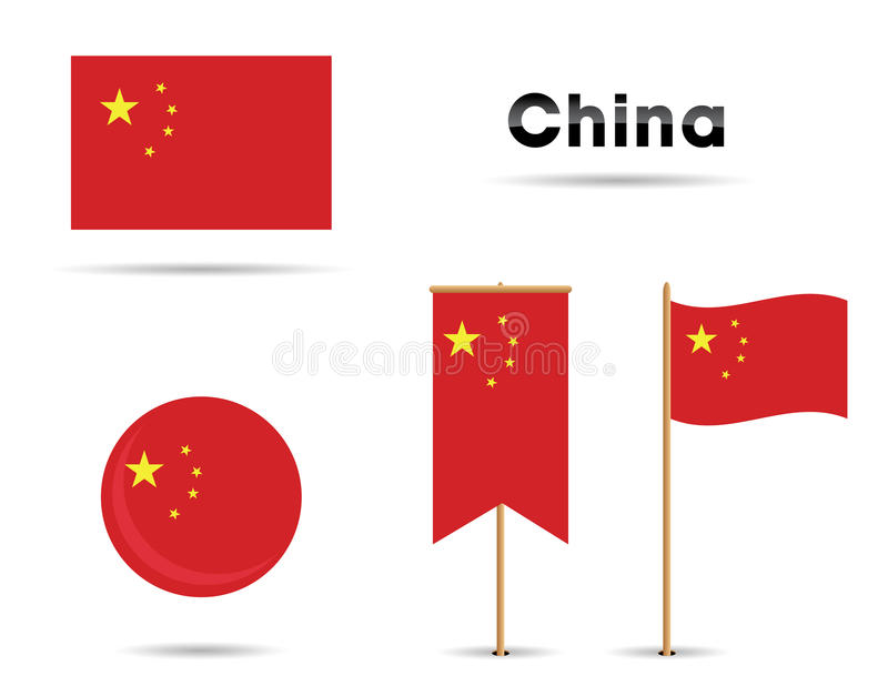 China flags. Set of china flags for any porpuse stock illustration