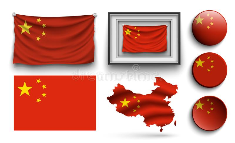 China flags collection isolated on white stock illustration