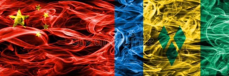 China gegen St. Vincent und die Grenadinen Rauchflaggen setzte SID stock abbildung