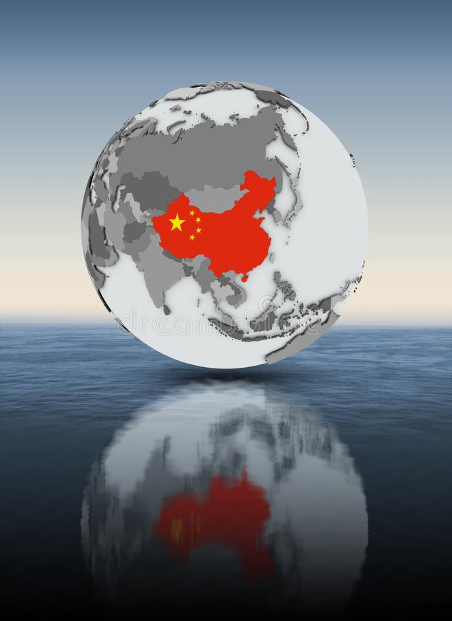 China on globe above water. China with flag on globe above water. 3D illustration stock illustration
