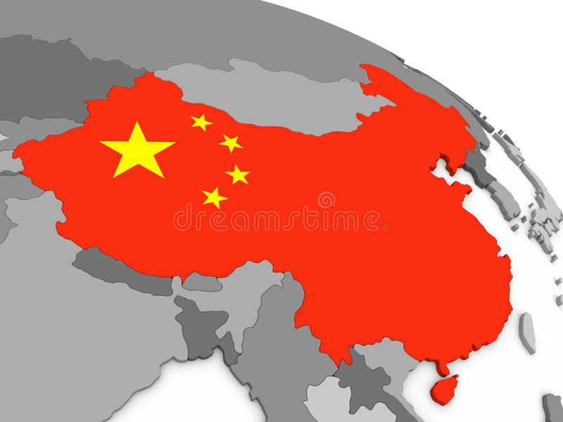China on globe with flag. Map of China with embedded national flag. 3D illustration stock illustration