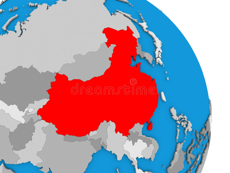 China on globe. China highlighted in red on simple globe with visible country borders. 3D illustration vector illustration