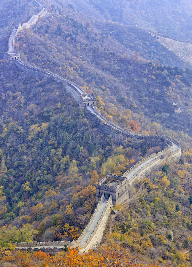 Panorama Of Great Wall Of China Among The Mountains Near ...