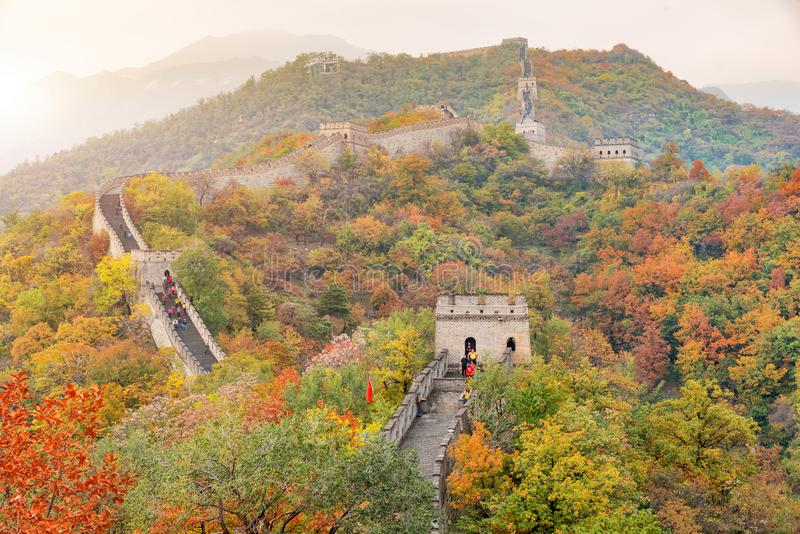 China The great wall distant view compressed towers and wall segments autumn season in mountains near Beijing ancient chinese for royalty free stock images