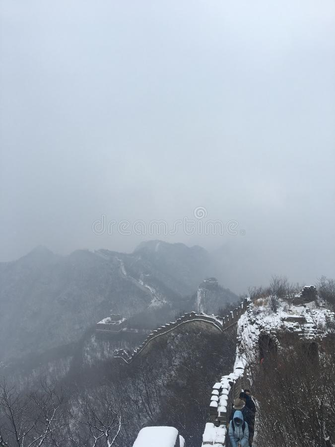 China Great Wall Snow Scene stock image