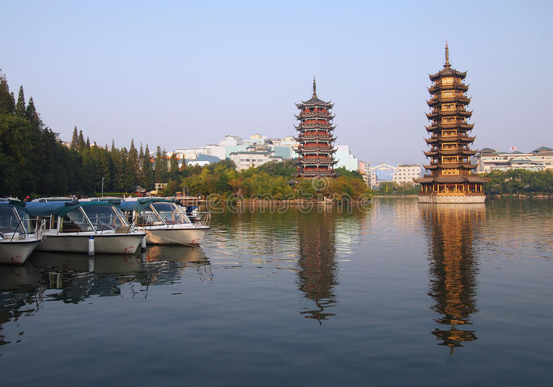 China Guilin. View of China Guilin city landscape stock photography