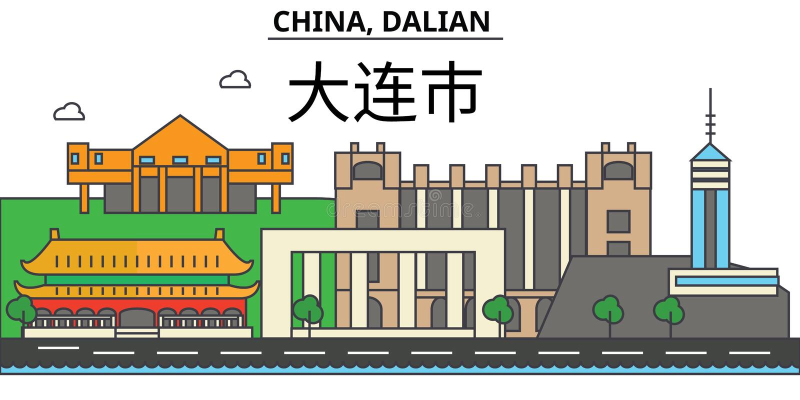 China, Guilin De architectuur Editable van de stadshorizon stock illustratie