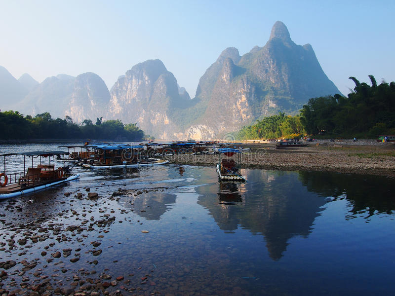 China Guilin Landscape. Lijiang river surrounded by unique hills, beautiful scenery, idyllic landscape representative for this area. China, Guilin city stock photos