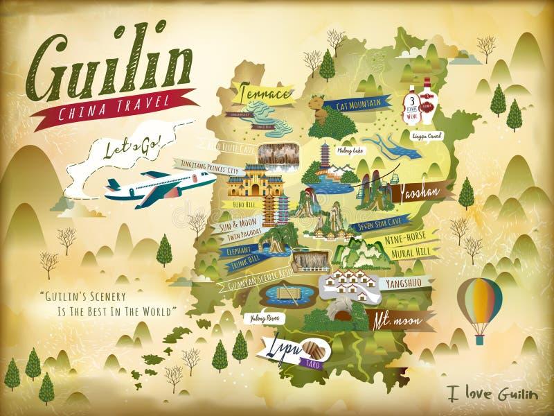 Download China Guilin travel map stock vector. Illustration of shan - 90348410