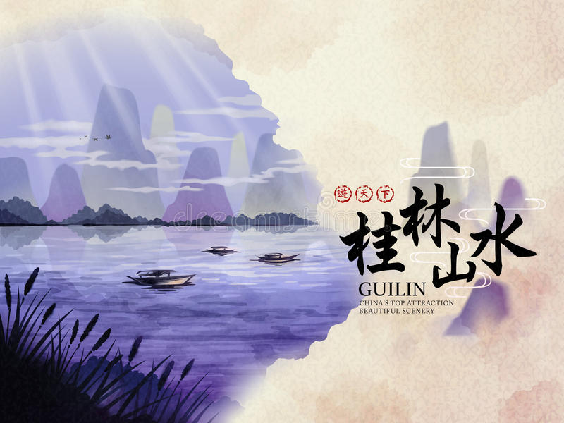 Download China Guilin travel Poster stock vector. Illustration of boat - 90256797