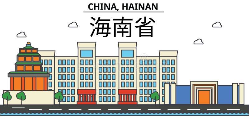 China, Hainan De architectuur Editable van de stadshorizon royalty-vrije illustratie