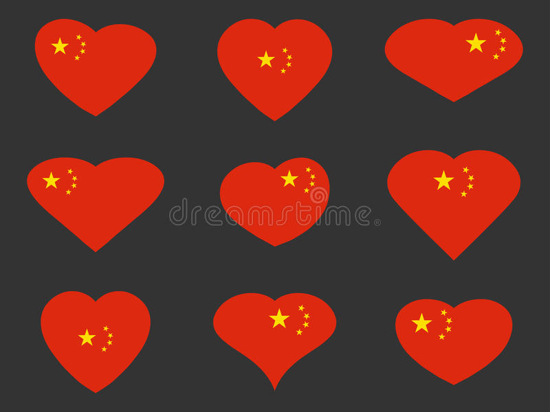 China. Hearts with Chinese flag. Vector royalty free illustration