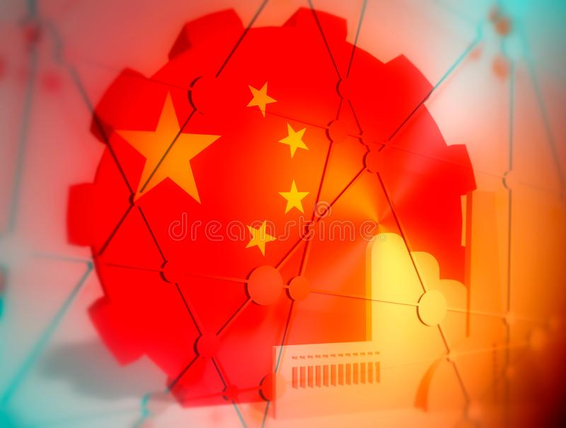 China heavy industry concept image. China industry relative concept. Factory icon and gear textured by national flag. 3D rendering vector illustration