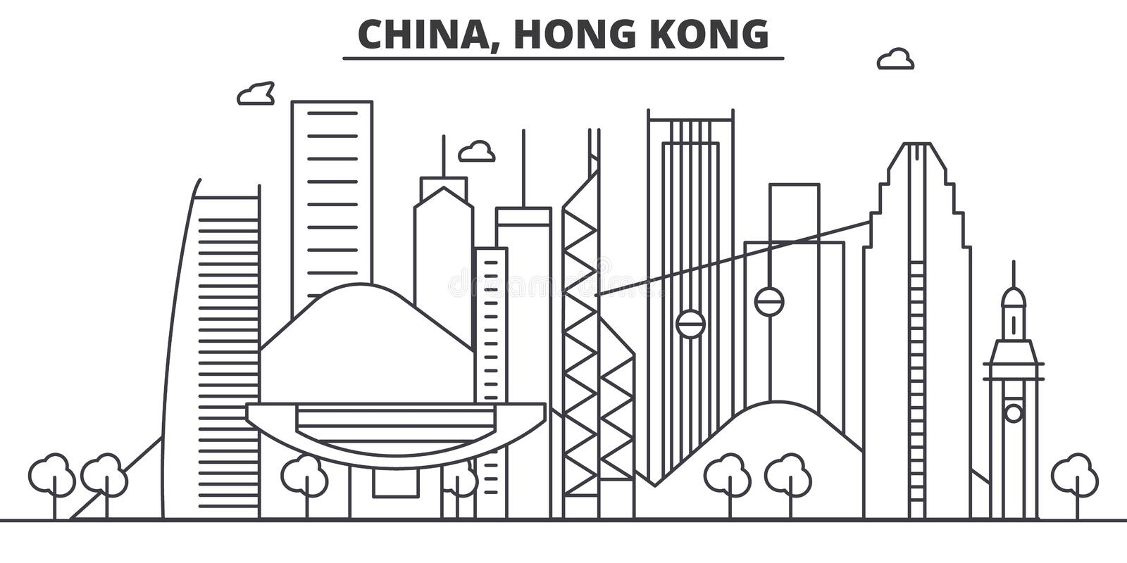 China, Hong Kong architecture line skyline illustration. Linear vector cityscape with famous landmarks, city sights vector illustration